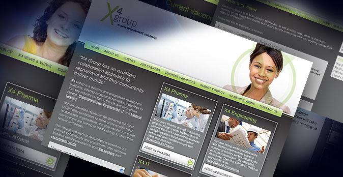 Recruitment website design and build for X4 Group